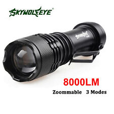 Skywolfeye 8000 LM CREE Q5 LED Flashlight Zoomble Torch Light Lamp AA 14500 AH silver