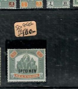 MALAYA  SELANGOR  (PP3103B)  ELEPHANT  $25.00 SPECIMEN  SG 66S MOG back scan add