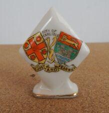 Crested Ware diamond on plinth Carlisle Coat of Arms 6.5 cm