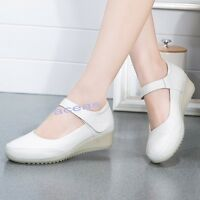 New Women's Leather Wedge Buckle Nurse Work Shoes Casual Hospital Nursing Shoes