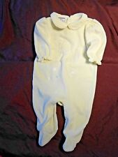 6-9M Baby Girl's Collared Ivory Fleece Footed Romper - Teddy Angel Moon Stars