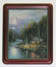Thomas Kinkade Puzzle On Hunter Green Mount Board & Cherry-Stained Wood Frame