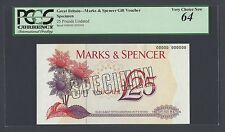 United Kingdom , A Specimen Voucher for 25 Pounds Marks and Spenders store