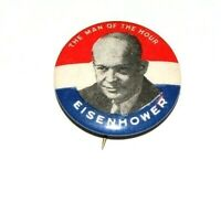 """1952 DWIGHT D. EISENHOWER 1.25"""" MAN OF THE HOUR campaign pin pinback button"""