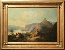 Antique Swedish 19th century Oil Painting on Canvas : Italian Alpine Landscape