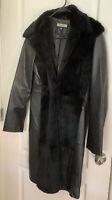 Bebe Large 100% Leather Calf Length Coat, 100% Dyed Rabbit Fur Trim