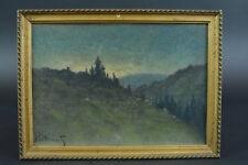 Charmant tableau/Pastel 1900, Paysage vallonné au crépuscule