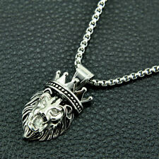 Stainless Steel Small Lion King Crown Pendant Necklace Smooth Box Chain 20""