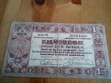1 Gulden Zilverbon Netherlands banknote (1938) serie FR