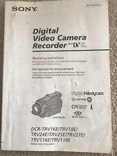 Sony Digital Video Manual DCR TRV16E TRV18E TRV24E TRV25E TRV27E TRV116E TRV118E