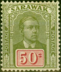 Sarawak 1928 50c Olive-Green & Carmine SG89 Fine Mtd Mint