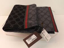NWT GUCCI BLACK GRAY REVERSIBLE GUCCISSIMA GG WEB STRIPES WOOL SCARF 180 x 23