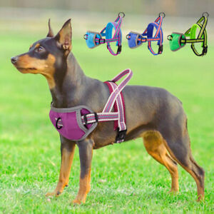 No Pull Dog Harnesses Reflective Front Clip Puppy Walking Vest Mesh Chest Padded