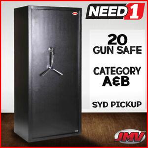 JMV 20 Gun Safe Firearm Rifle Storage Lock box Steel Cabinet  Key Only & 3-Spoke
