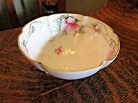 NIPPON FOOTED BOWL WITH HANDPAINTED PINK FLOWERS