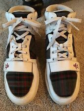 Penguin by Munsingwear Moby White High-Top Leather /Plaid Fashion Sneakers US 12