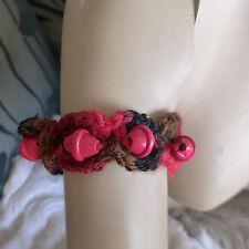 No Metal No Stone Wooden Beads Handmade Crocheted Red Wool Statement Bracelet