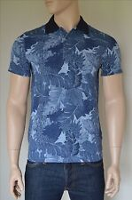 NEW Abercrombie & Fitch Classic Printed Polo Shirt Navy Blue Floral Pattern S