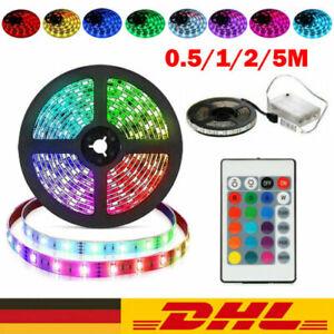 RGB LED Stripe 5050 SMD Streifen Band Licht Leuchte Batterie Lichterkette 0.5-5M
