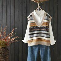 Women Knit Vest Tank Top Sweater Waistcoat Sleeveless V-neck Striped Casual Navy