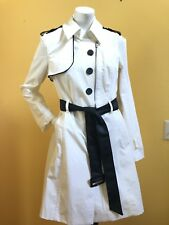BEBE White With Faux Leather  Trench Coat M