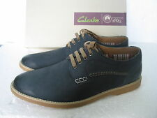NEW Clarks Mens FUSE WALK NAVY Leather Casual SHOES SIZE 6/40