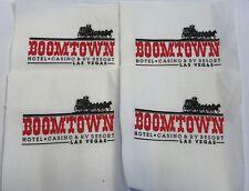 4 Boomtown Hotel Casino Las Vegas Nevada White Cocktail Napkins Red Black Logo