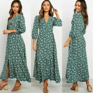 Women Boho Floral Long Dress Ladies Holiday Summer Beach Maxi Dress 3/4 Sleeves