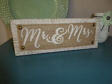 MR & MRS Wood & Burlap SIGN Wedding Sweetheart Table Photo Prop SCRIPT LETTERS