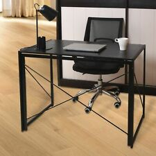 Black Folding Computer Desk Wooden Top Foldable Study Table Laptop Home Office