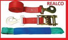 4X RED 4METER RECOVERY WHEEL STRAPS (SNAP HOOKS) & (SOFTLOOPS)