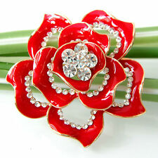Navachi Red Enamel 18K GP Crystal Rhinestone Flower Brooch Pin BH7445