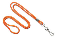 "Orange Round 1/8"" Standard Lanyard W/ Nickel Plated Steel Swivel Hook - 1 DOZEN"