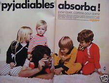 PUBLICITÉ 1970 ABSORBA ENFANTS LES PYJADIABLES POUR JOUER COMME POUR DORMIR