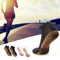 unisex Copper Fiber Cotton Sports Socks Running Fitness Workout Calf Ankle Socks