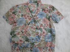 Alfred Dunner Shirt 14 Pink Blue Floral Short Sleeve Button Up Spring Womens