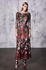74f837242048a  895 New Marchesa Notte Black Floral Midi Tea Dress Shift Embroidered 2 4  12 14