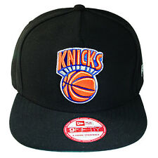 New Era NBA New York Knicks Leather A Frame Black Strapback Hat c677d7f9d53