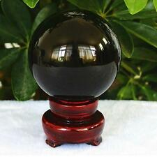 50mm Asian RARE Natural Black Obsidian Sphere Crystal Ball Healing Useful Stone