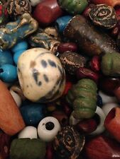 6lb Lot Vintage Hand-Made Ceramic And Wooden Macrame Beads 1960s 1970s