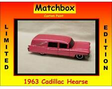 Hot Matchbox Wheels 1963 Cadillac Hearse Custom Pink Casket Morgue Funeral