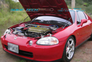 Black Strut Hood Shock Stainless Damper Kit fits 92-97 Honda CR-X CRX Del Sol