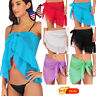 US Swimwear Bikini Women Mini Wrap Skirt Sheer Beach Cover Up Sarong Pareo Dress