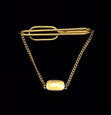 Vintage Tie Clip Bar Clasp Gold Tone SWANK Chain No Monogram