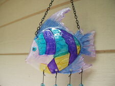 Glass Wind Chimes 24 inch Large Art Glass Tropical Fish with 6 Bars FREE SHIP