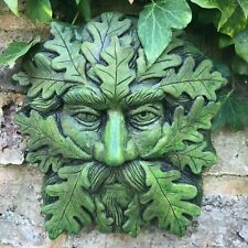 """Quercus"" green man wall plaque STONE garden ornament 19cm/7.5"" H © +FREE GIFT!"