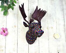 Wall Mounted 46cm Retro Multi Coloured Moose Head