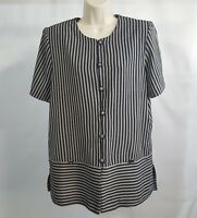 Vintage Miss Dorby Women's Size 16  Striped Black Gray Top Blouse Button-up