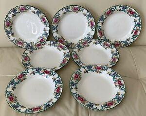 """Vintage Royal Doulton Floradora Green 8 3/8"""" Rim Soup Bowls Set of 7"""