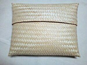 Handmade Weave Nature Bamboo Wicker Envelope Tablet Storage Book Case Lid Craft